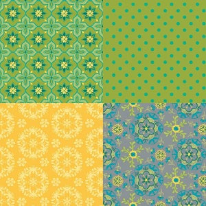 Image of Wildflower Boutique Green Fat Quarter Panel