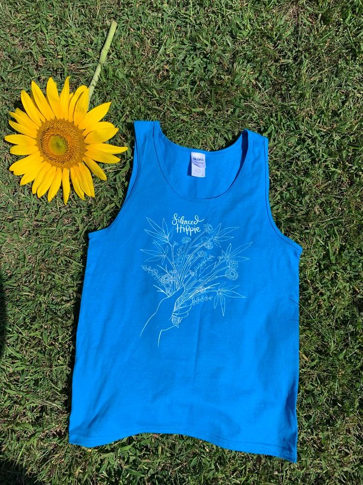Image of Weedy Wildflower Tank (bright blue) PRE ORDER