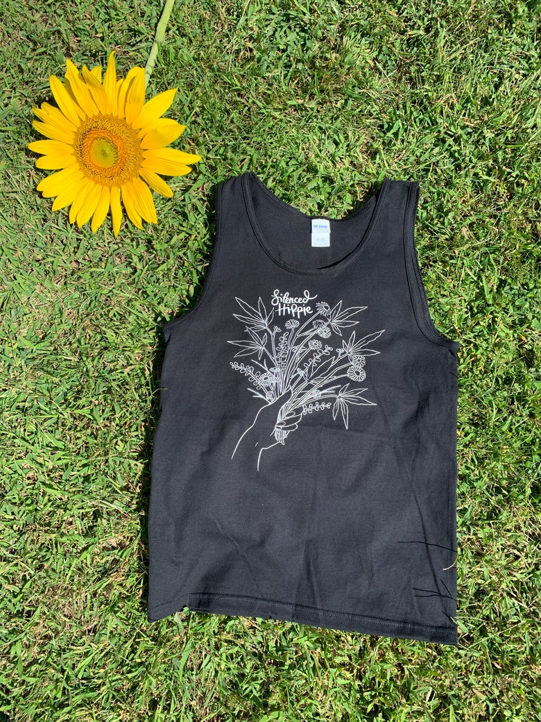 Image of Weedy Wildflower Tank (black) PRE ORDER
