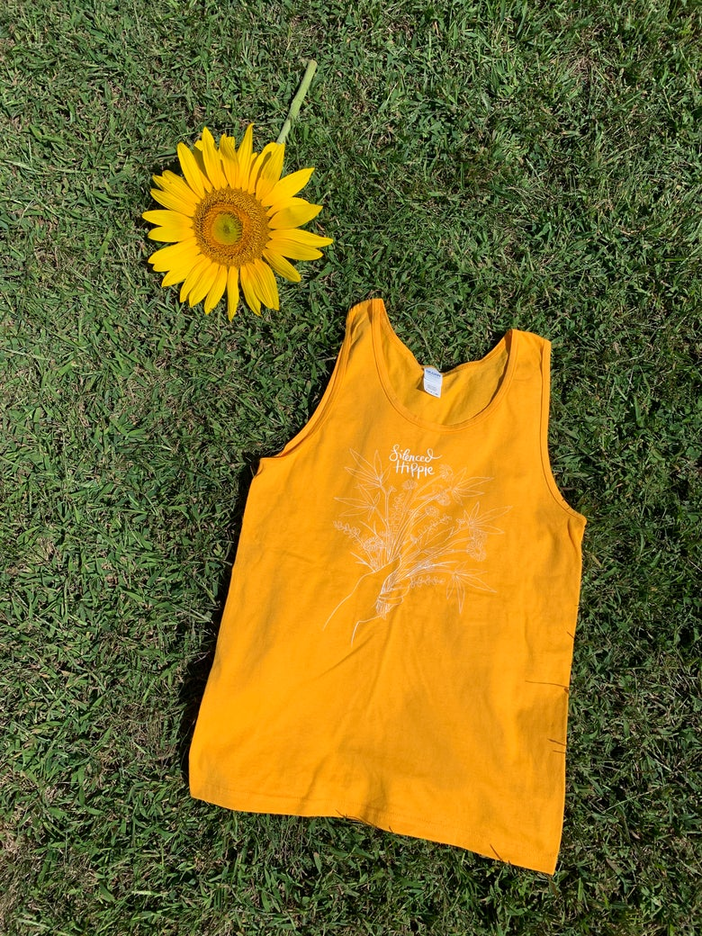 Image of Weedy Wildflower Tank (gold/white)