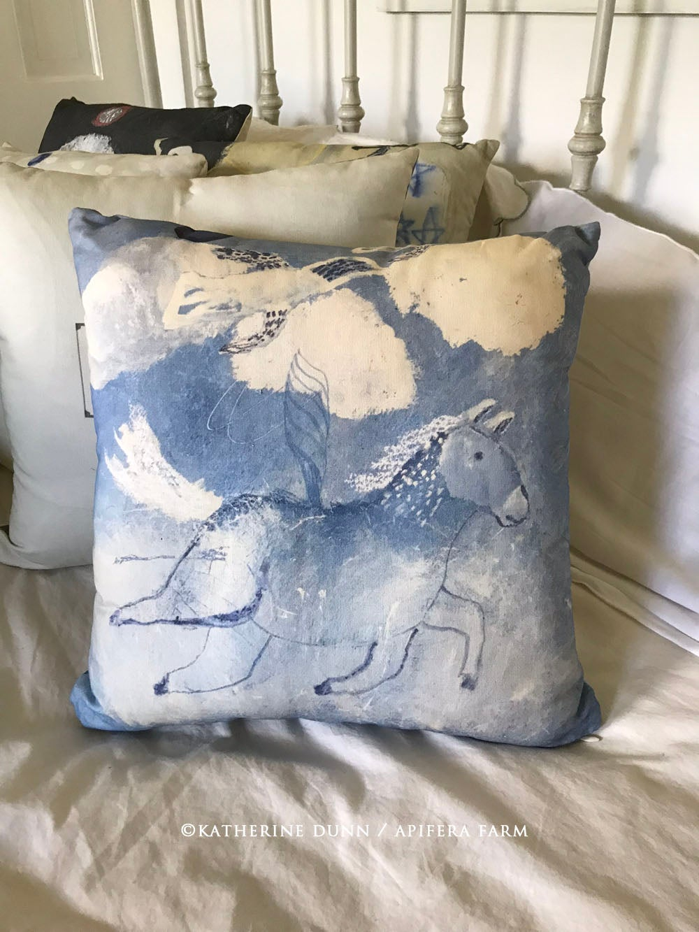Image of Pony and Birds Pillow