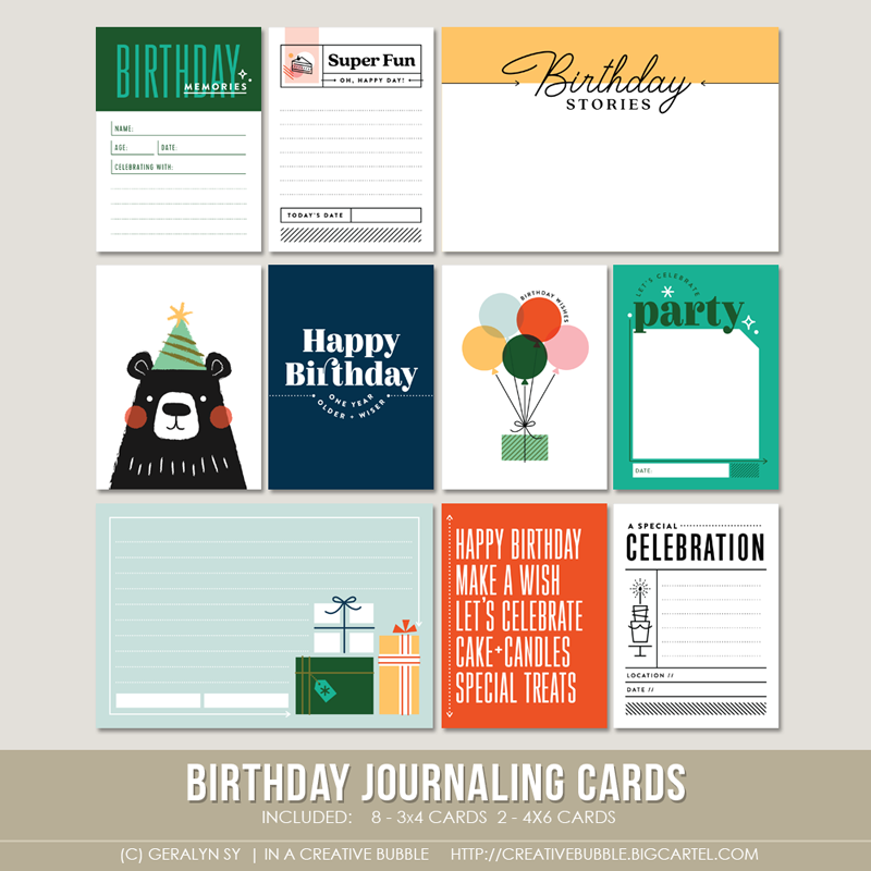 Image of Birthday Journaling Cards (Digital)