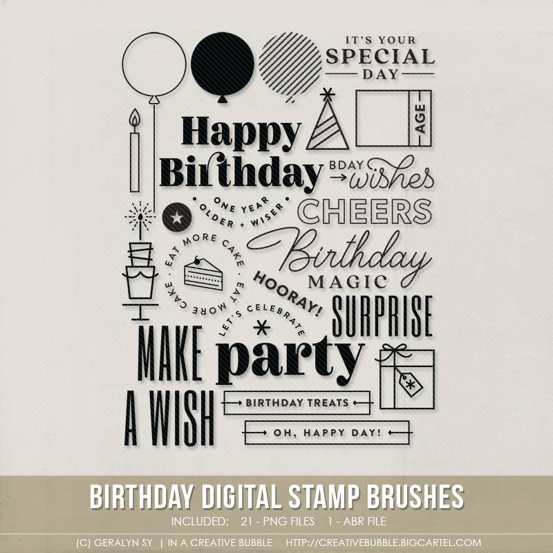 Image of Birthday Stamp Brushes (Digital)
