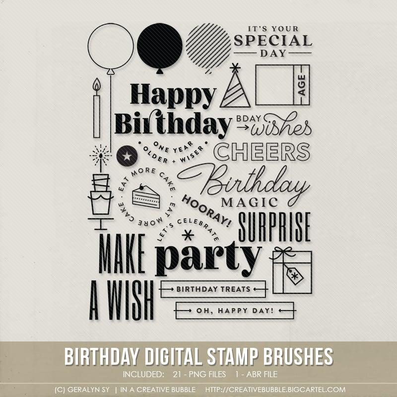 Image of Birthday Stamp Brushes (Digital)