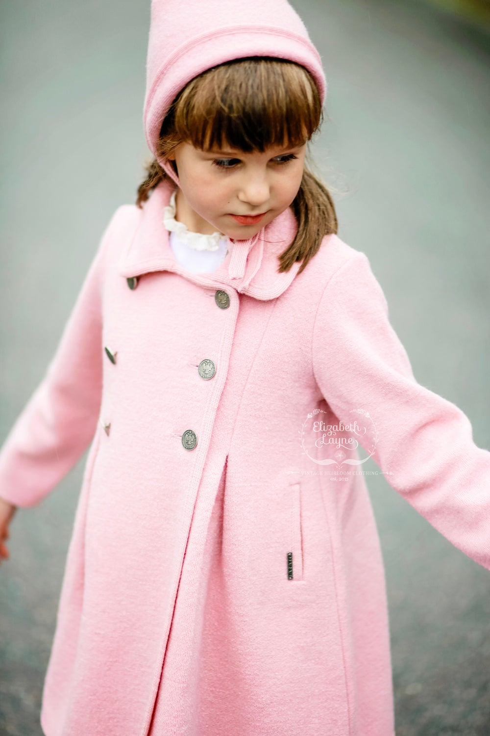 Image of Double-Breasted Girl's Wool Swing Coat