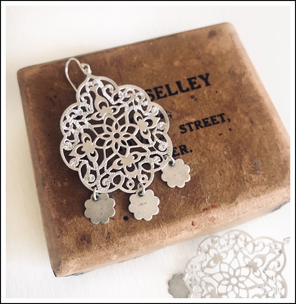Image of Three charmed filigree earrings
