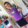 Ladies Rainbow Star Patch Raglan Top