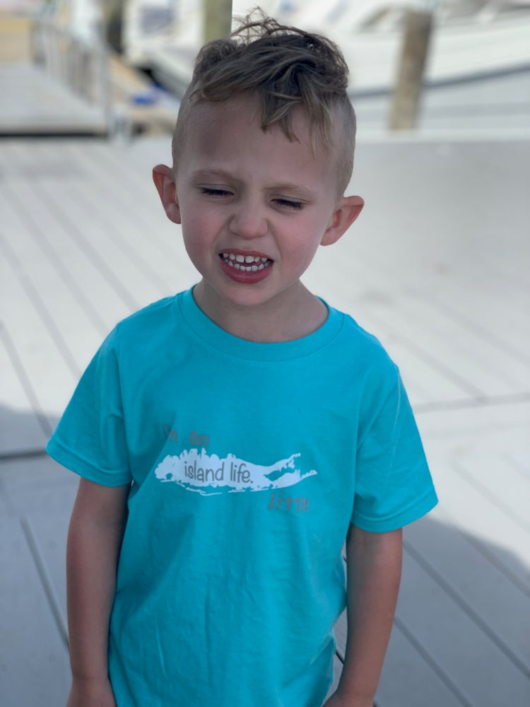 "Image of Toddler Tee ""I'm an island life little"" - Caribbean Blue"