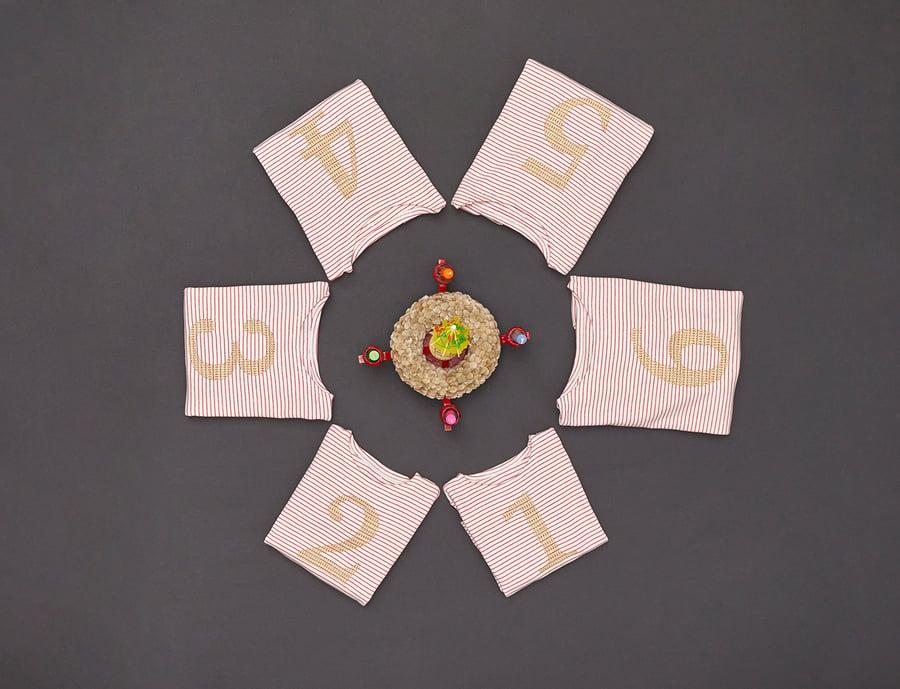 Image of NEU Zahlenshirt mit goldener Zahl 1, 2, 3, 4, 5 oder 6 Art.266146