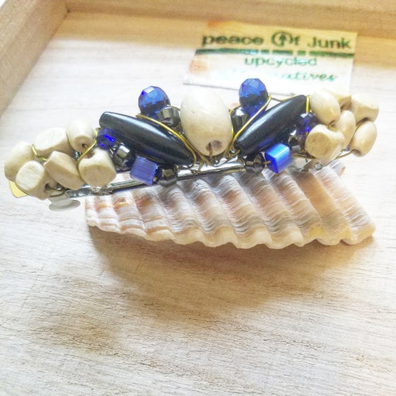 Image of Blue Black Butterfly Barrette