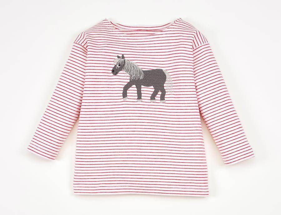 Image of NEU T-Shirt rot gestreift mit Pferd Art. 310246