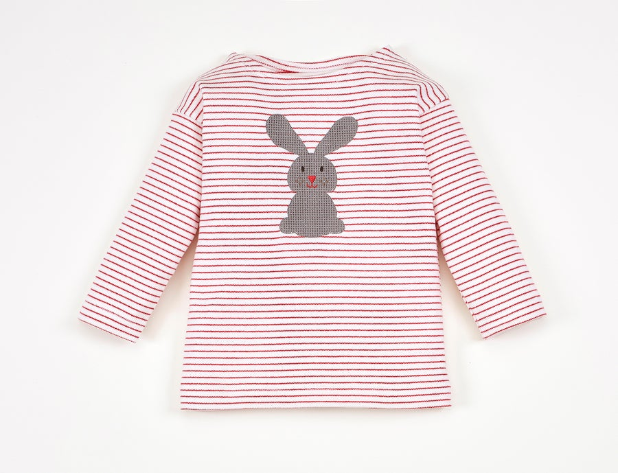 Image of NEU T-Shirt rot gestreift mit Hase Art. 311246