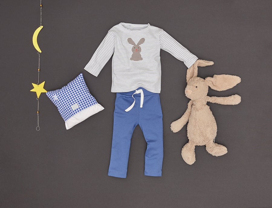 Image of NEU T-Shirt blau gestreift mit Hase Art. 311248