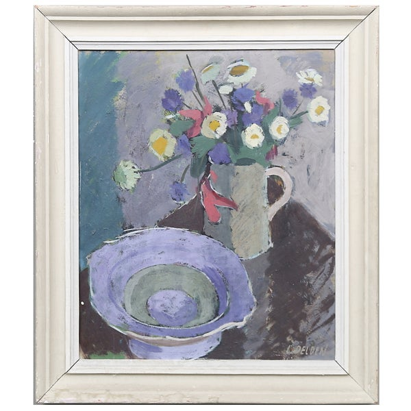 Image of Mid-century Swedish Painting, 'Daisies,' CARL DELDÈN