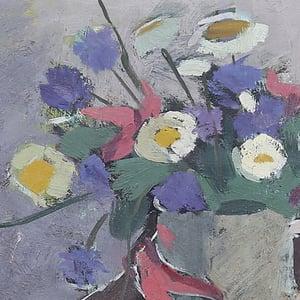 Image of Mid-century Swedish Painting, 'Daisies,' CARL DELDÈN