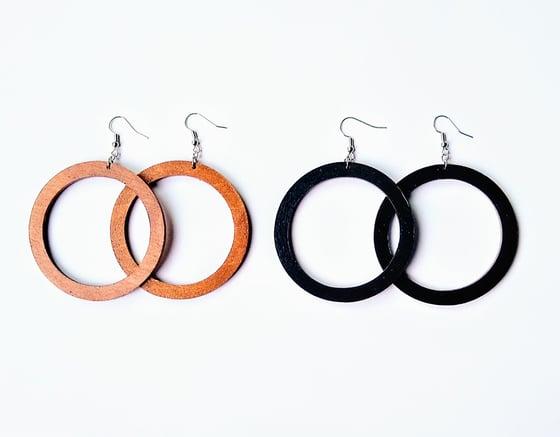 Image of Sugar-land Wood Hoop Earrings