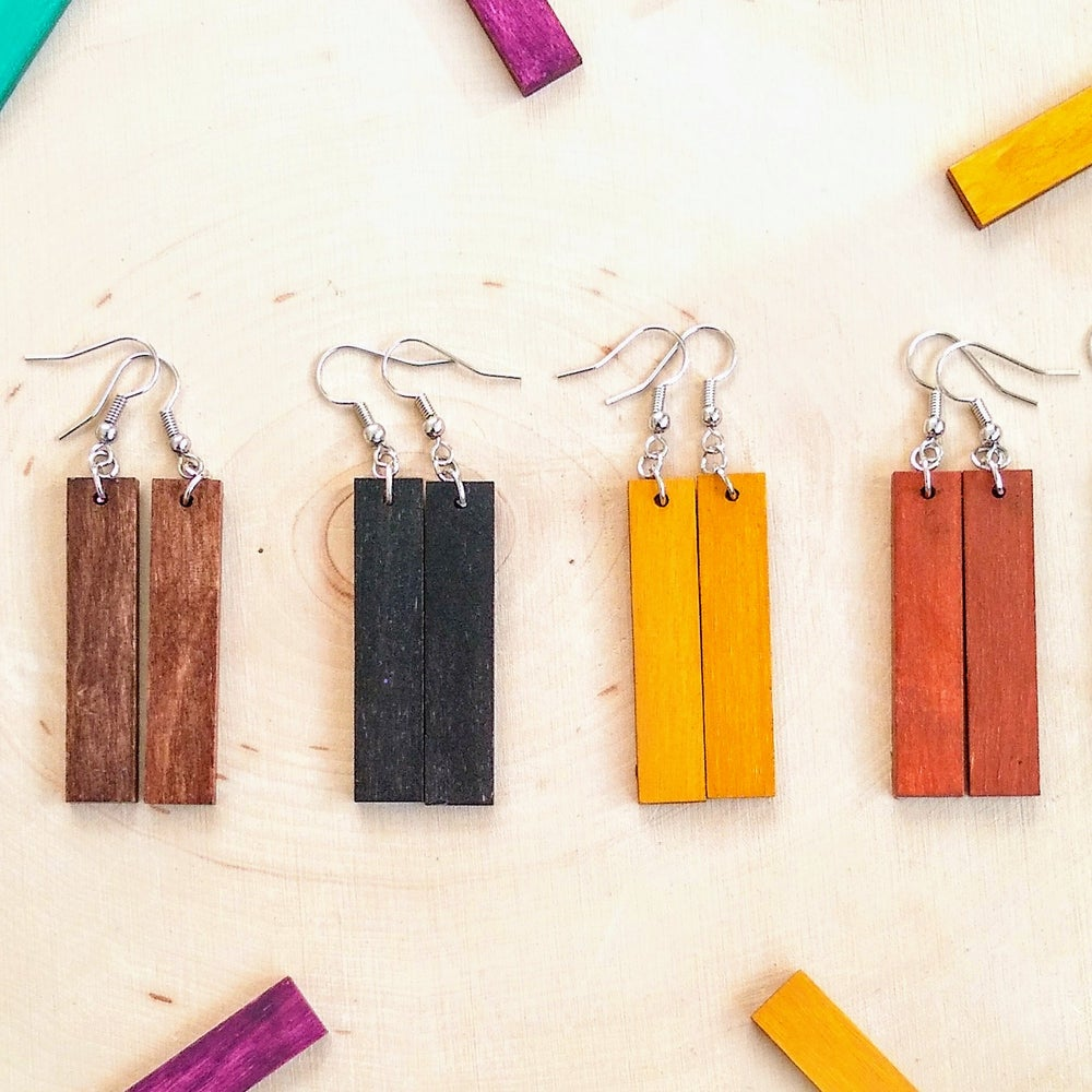 Image of Luna Minimalist Wood Earrings
