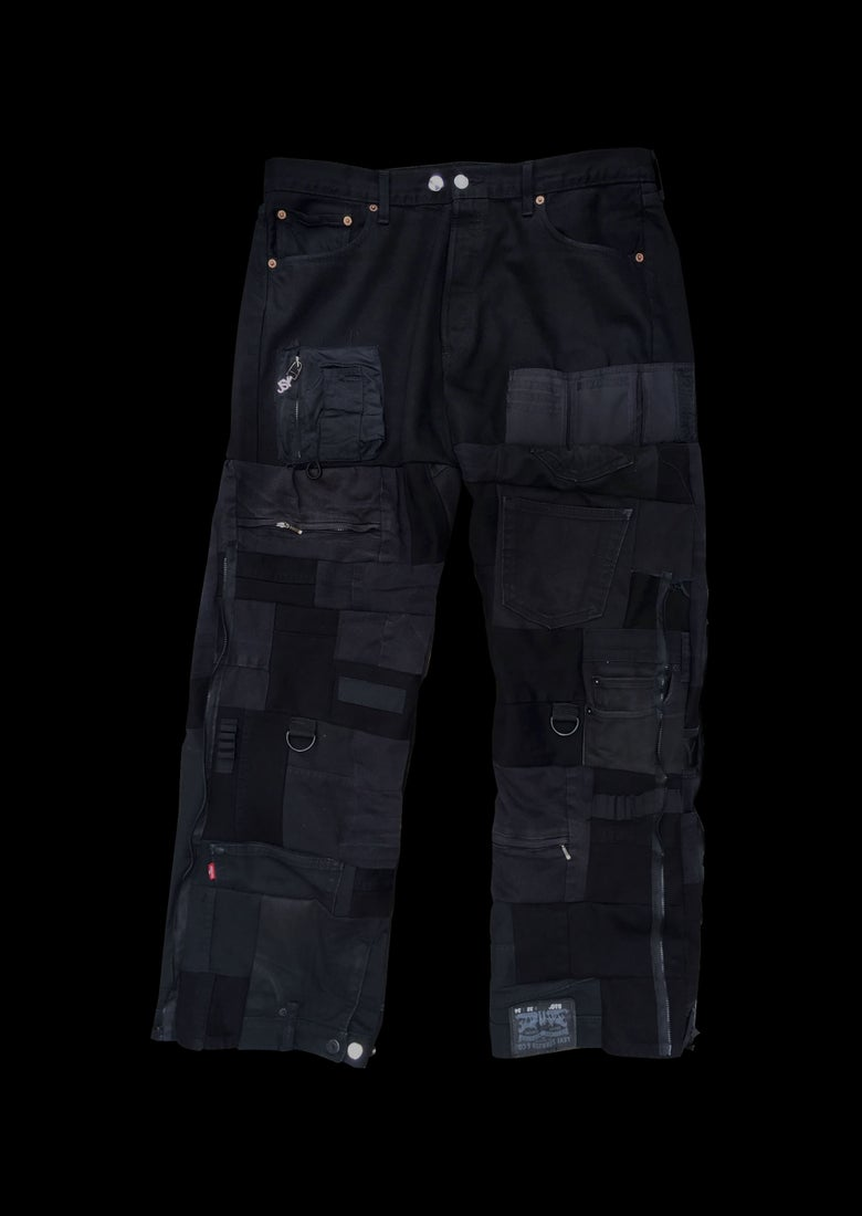 Image of DENIM PATCHWORK CARGO BK