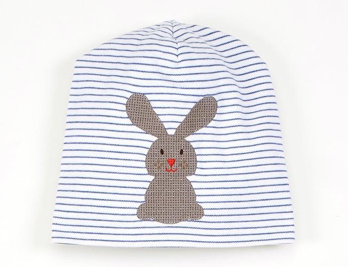 Image of Mütze blau gestreift mit Hase Art.811248