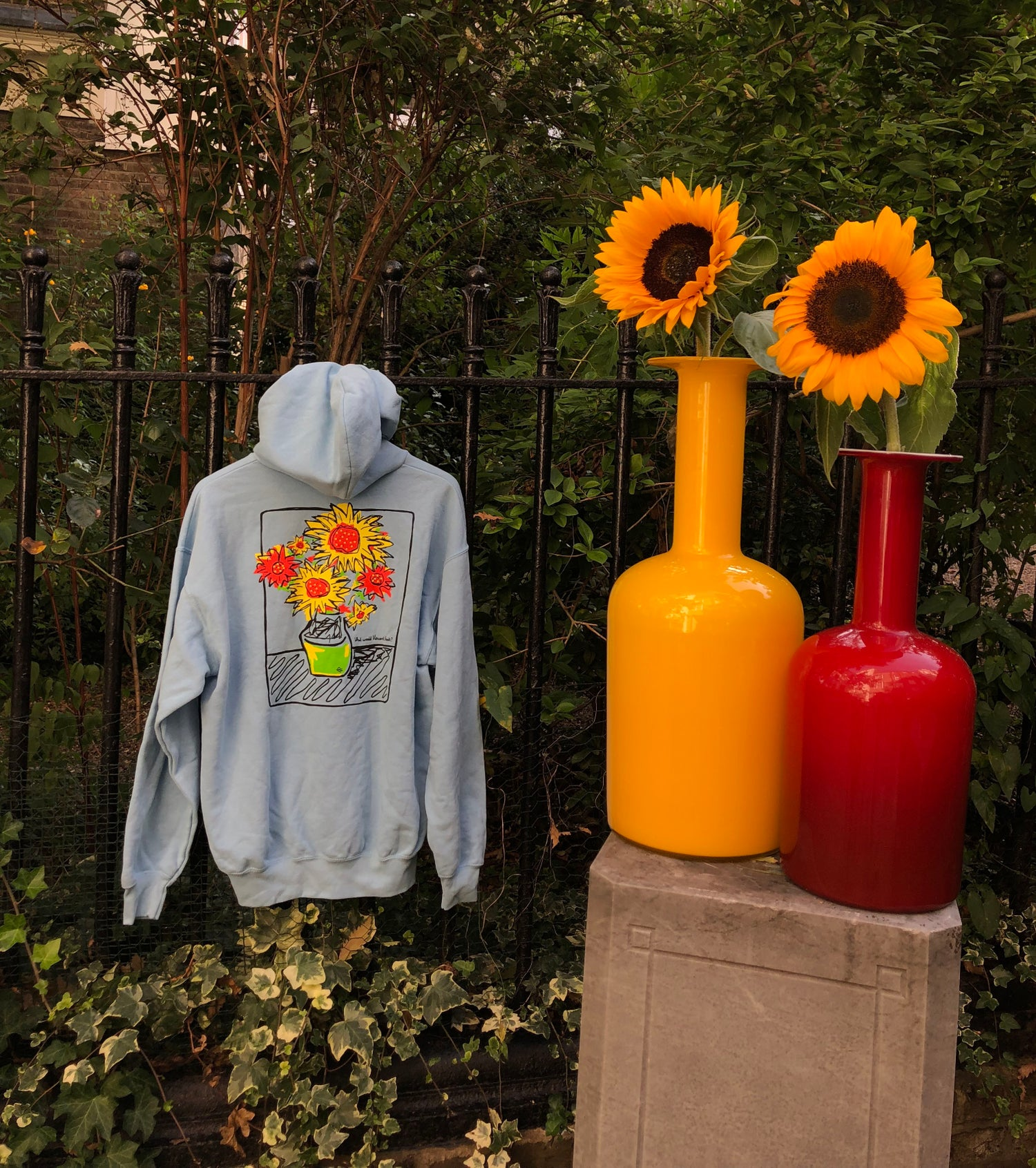 """Image of BLUE  """"WHAT WOULD VINCENT THINK?"""" HOODIE"""