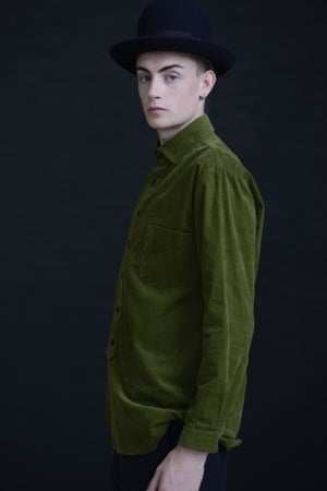 Image of HUGUENOT SHIRT CORDUROY - GRASS