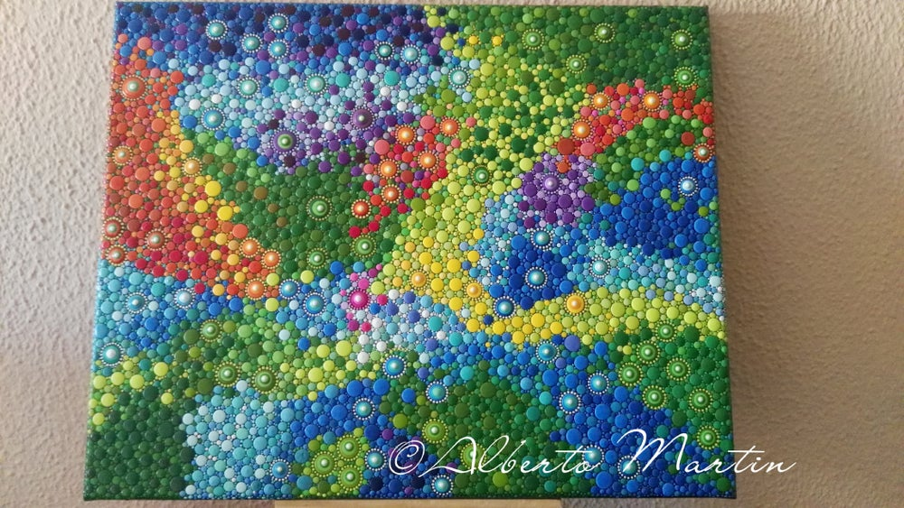 Image of Rainbow river dotart Canvas by Mandalaole Alberto Martin