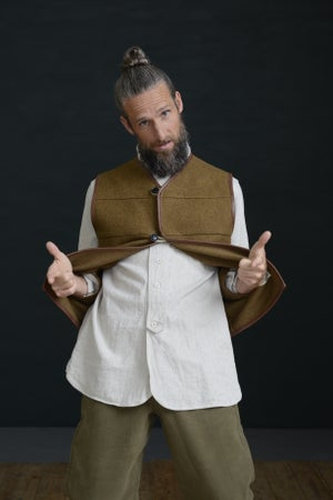 Image of LEATHER GILET - TAN BROWN £215.00