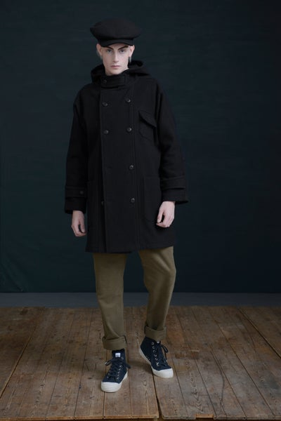 Image of NEW FISHERMAN COAT - BLACK £330.00