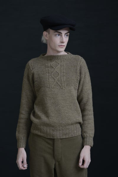 Image of WELSH FISHERMAN JUMPER - PEBBLE