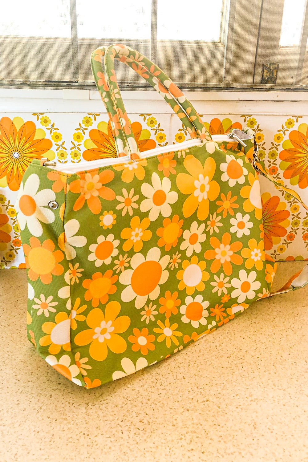 Day tripper overnight bag in the Sunny side up print