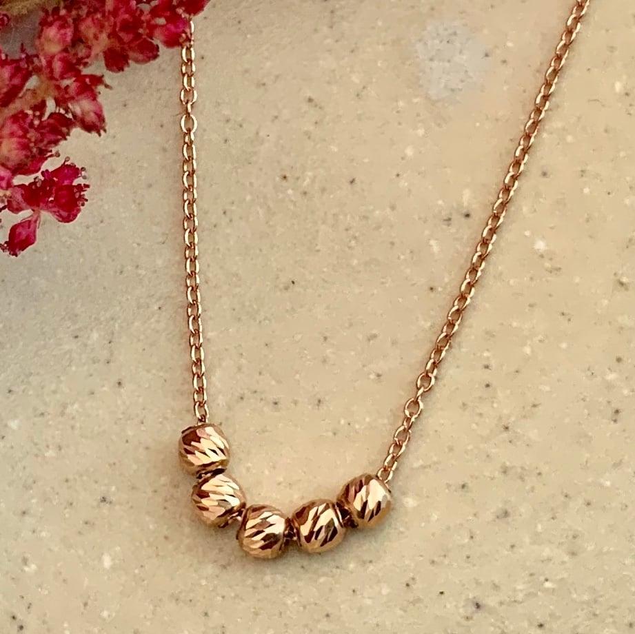 Image of 14k Rose Gold Etched Bead Slide Necklace