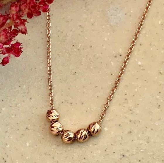 Image of 14k Rose Gold Etched Bead Slide Necklace