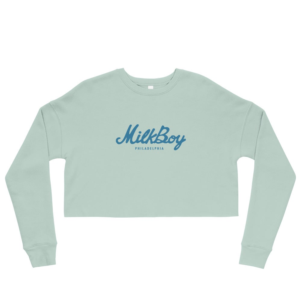 Image of Women's Fleece Crop Sweatshirt Dusty Blue