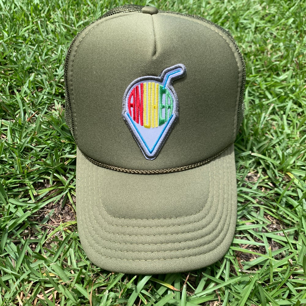 Image of Army Green Shave Ice Mesh Hat