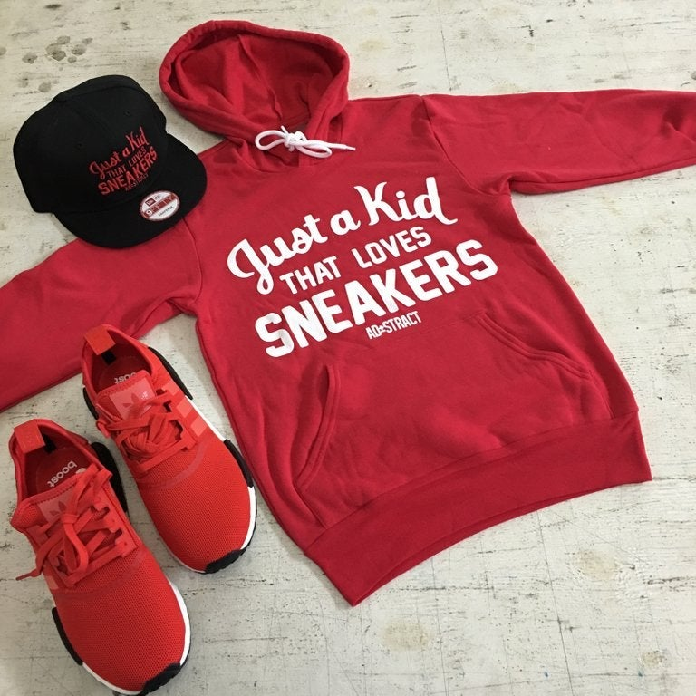 Image of JUST A KID THAT LOVES SNEAKERS (WHITE PRINT) HOODY --- RESTOCKED