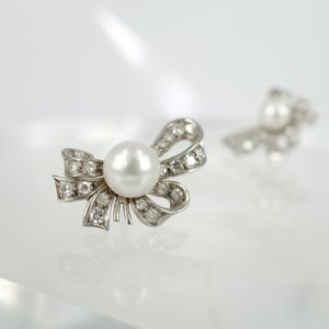 Image of Antique style Pearl & Diamond earrings