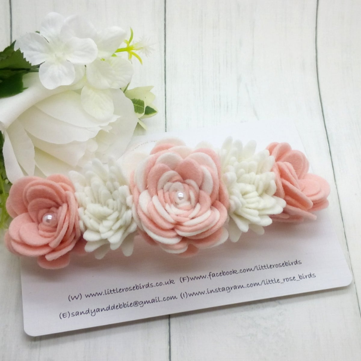 Image of Blush Pink & White Felt Flower Crown - Choice of Colours