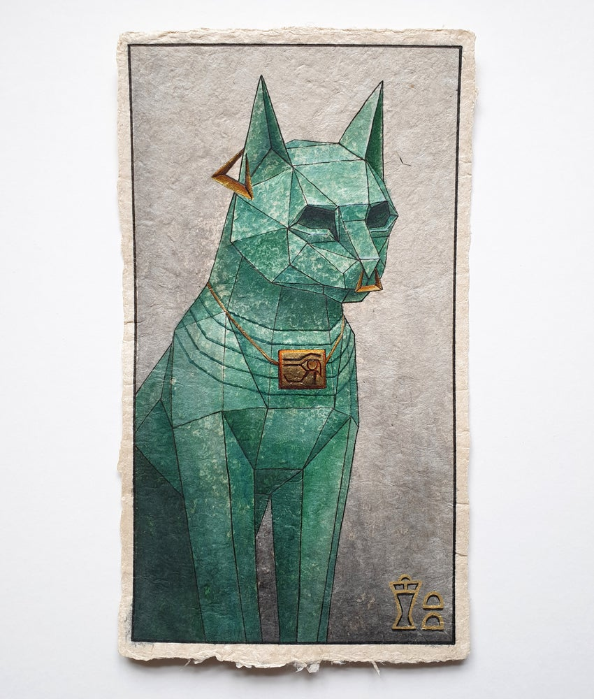"Image of ""Bastet"" original watercolour study"