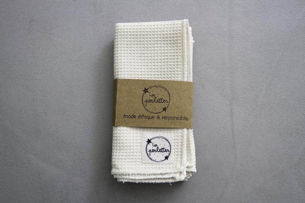 Image of Lot de lavettes en petit nid d'abeilles