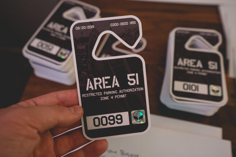 Image of 👽 AREA 51 DRIVERS HANG TAG