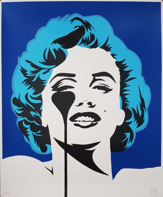 "Image of PURE EVIL ""I DREAM OF MARILYN"" - (GLACIER BLUE HAIR) LTD ED 100 - 70CM X 85CM"