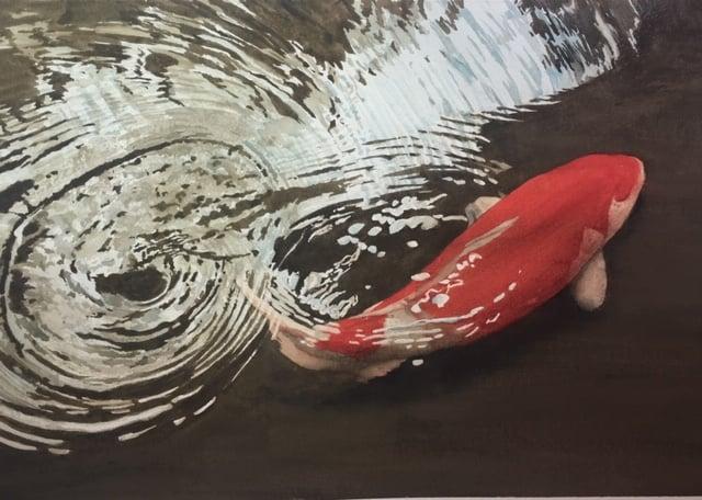 """Image of """"Japanese Koi"""" original watercolor"""