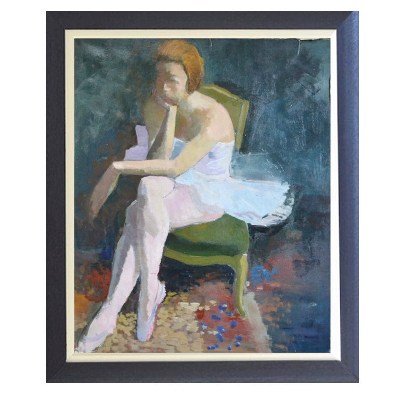 Image of 1950 French Painting, Ballerina.'