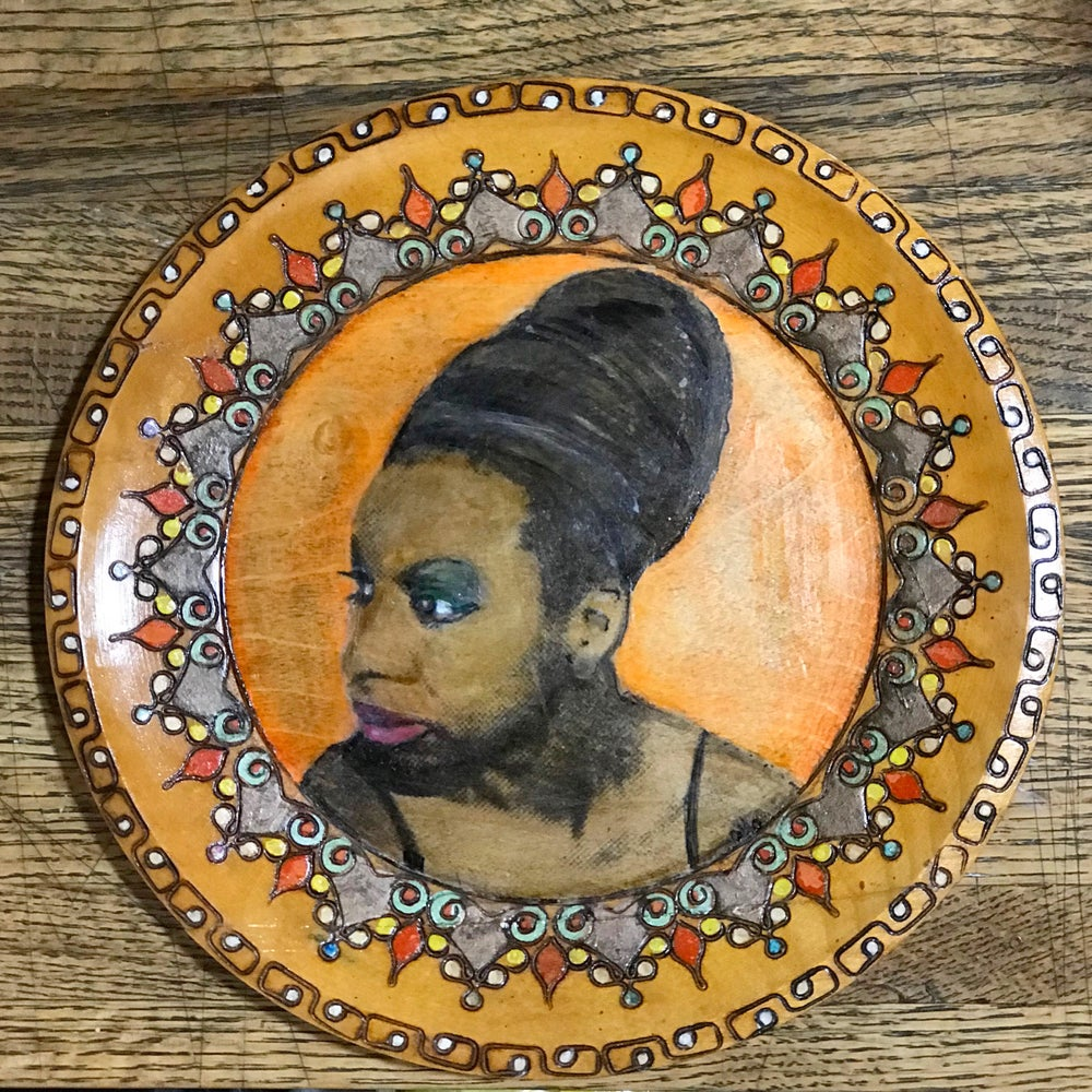 "Image of Miss Simone 6""Wooden Plate"