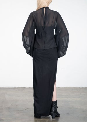 Image of SAMPLE SALE - Lace Collar Sheer Blouse Black