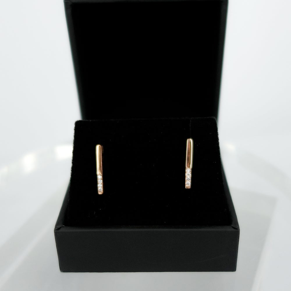 Image of 14ct Rose gold diamond set stud earrings