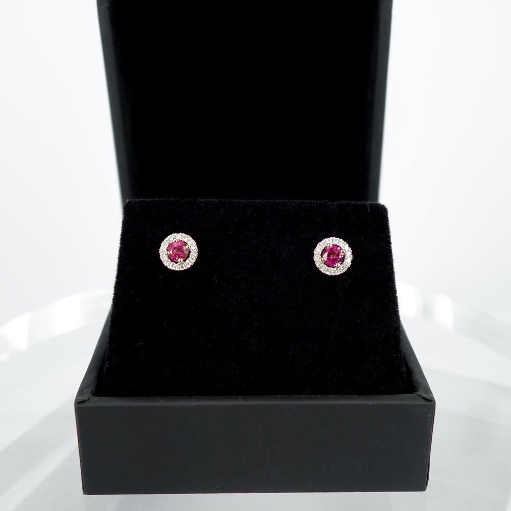 Image of 18ct white gold diamond cluster stud earrings set with matching pink Tourmalines