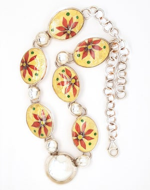Image of Necklace with Six Cloisonné Enamels with the Glitter of Gold