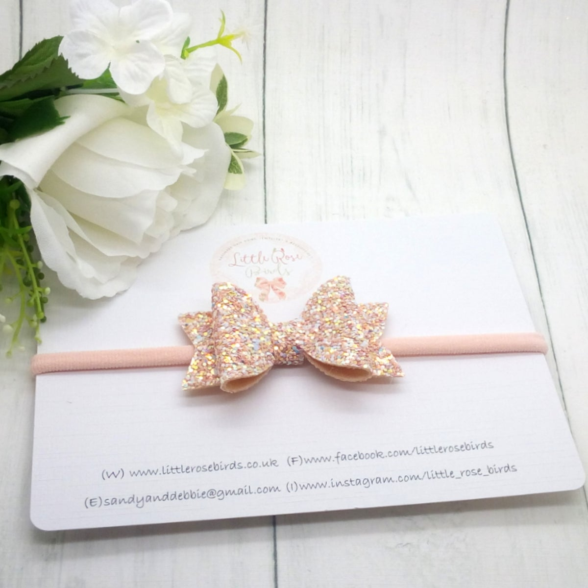 Image of Blush Pink Glitter Bow on Headband or Clip - Choice of Size