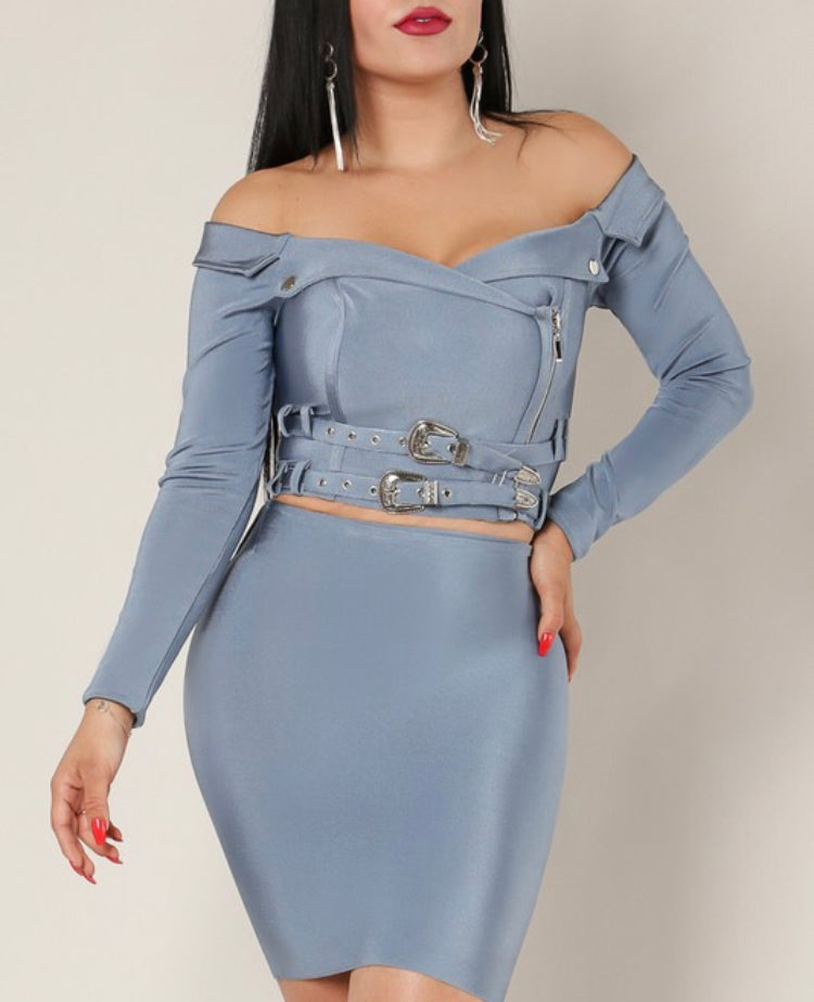Image of Baby Blue bodycon 2 piece set